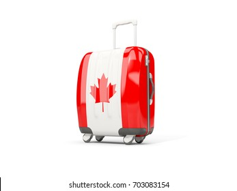 Luggage with flag of canada. Suitcase isolated on white. 3D illustration
