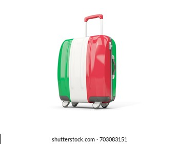 Luggage with flag of italy. Suitcase isolated on white. 3D illustration