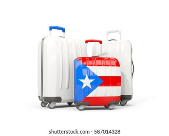 Luggage with flag of puerto rico. Three bags isolated on white. 3D illustration