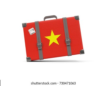 Luggage with flag of vietnam. Suitcase isolated on white. 3D illustration