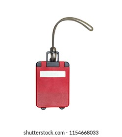 Luggage tag for red color. In the form of a suitcase with wheels. Isolated on white.
