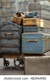 Luggage with trolley at train station in The Wizarding World of Harry Potter, Universal Studios Japan.
