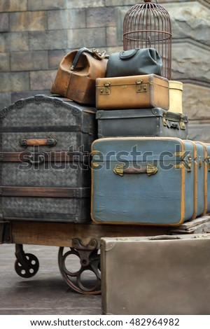 Luggage with trolley at
