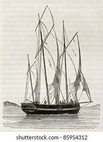 Lugger old illustration. By unidentified author, published on Magasin Pittoresque, Paris, 1842