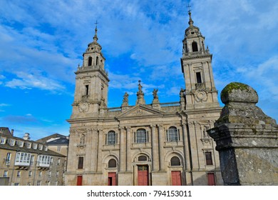 Lugo, Galicia, Spain. 01/13/2018: Facade of the Cathedral of Saint Maria of Lugo, a temple from the 12th century, which includes Romanesque, Baroque and Neoclassical elements.
