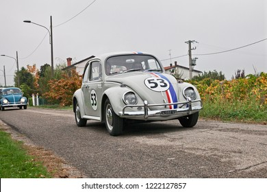 "Lugo, RA, Italy - november 4, 2018: vintage Volkswagen Type 1 Beetle Herbie of the sixties in classic car rally ""Battesimo dell'aria"""