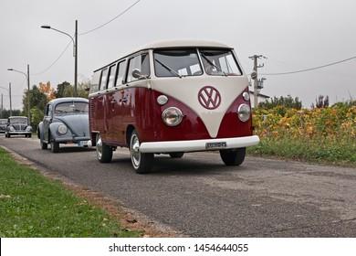 "Lugo, RA, Italy - november 4, 2018: vintage van Volkswagen Transporter Type 2 T1 Split travels during the classic car rally ""Battesimo dell'aria"""