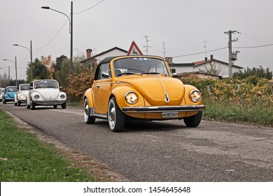 """Lugo, RA, Italy - november 4, 2018: vintage German car Volkswagen Type 1 (Beetle) Cabriolet traveling during the classic car rally """"Battesimo dell'aria"""""""