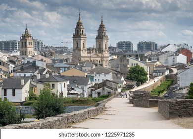 LUGO, SPAIN - AUGUST 28, 2018: Panoramic view during a walk along the city wall of Lugo on August 28, 2018 in Galicia, Spain
