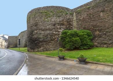 Lugo, Spain. Roman walls, III century. UNESCO World Heritage List