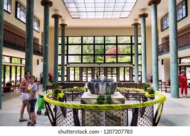 LUHACOVICE, CZECH REPUBLIC - APRIL 30 2018: Vincentka spring at the Colonadde in spa town on April 30, 2018 in Luhacovice, Czech Republic.