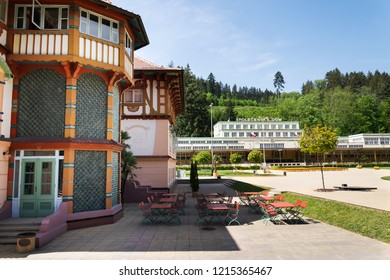 LUHACOVICE, CZECH REPUBLIC - APRIL 30 2018: National cultural monument Jurkovicuv house from 1902 at the Colonadde in spa town on April 30, 2018 in Luhacovice, Czech Republic.
