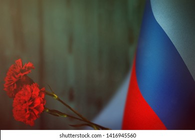 Luhansk Peoples Republic flag with two red carnation flowers for honour of veterans or memorial day on light blue blurred natural wood wall mockup. Luhansk Peoples Republic glory to  heroes of war con