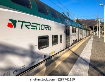Luino, Varese, Italy - January 28, 2019: Trenord Locomotive at Luino railway Station, is a border railway station in Italy, province of Varese, Italy
