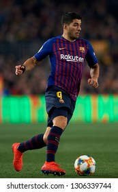 Luis Suarez of Barcelona during the Spanish Cup (King's cup), first leg semi-final match between FC Barcelona and  Real Madrid at Camp Nou stadium on February 6, 2019 in Barcelona, Spain.