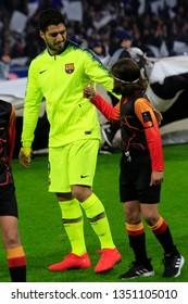 Luis Suarez of Barcelona during UEFA Champions League round of 16 between Olympique Lyonnais and FC Barcelona 2/19/2019 Groupama stadium Decines-Charpieu Lyon France