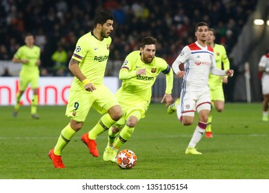 Luis Suarez of Barcelona and Lionel Messi of Barcelona during UEFA Champions League round of 16 between Olympique Lyonnais and FC Barcelona 2/19/2019 Groupama stadium Decines-Charpieu Lyon France