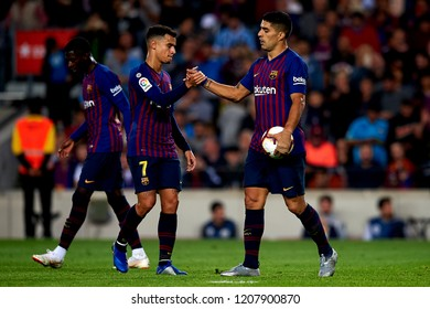 Luis Suarez celebrates goal with teammates Coutinho during the week 9 of La Liga match between FC Barcelona and Sevilla FC at Camp Nou Stadium in Barcelona, Spain on October 20, 2018.