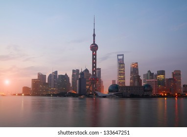 Lujiazui Finance&Trade Zone of Shanghai bund landmark city at sunrise skyline