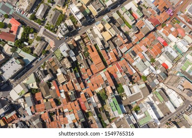 Lukang, Taiwan - October 18th, 2019: aerial view of cityscape with Lukang old street at Lukang township, Changhua, Taiwan