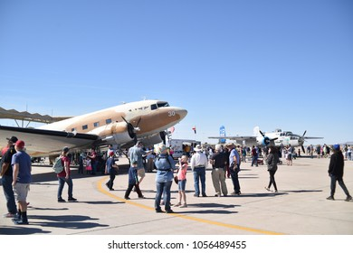 Luke Air Force Base, Arizona. U.S.A. March 17, 2018.  Douglas C-41 (a.k.a. DC-3). Engines: Pratt and Whitney R-1830 Twin Wasp. Cruising speed: 204 mph at 5,000ft; Normal range: 1,285 miles.