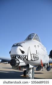 "Luke Air Force Base, Arizona. U.S.A. March 17, 2018.  A-10 Thunderbolt II; single-seat. Engines: twin turbofan engine.  Nicknames: ""Warthog,"" ""Hog"" & ""Tank killer."" A-10 built around 30 mm GAU-8/A."