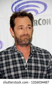 """Luke Perry arrives at the """"Riverdale"""" press room during Wondercon on March 31, 2017 at the Anaheim Convention Center in Anaheim, CA."""