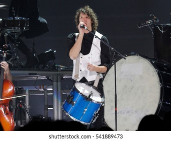 Luke Smallbone a member of the King and Country Christian band at GCU Arena in Phoenix Arizona USA December 11,2016.