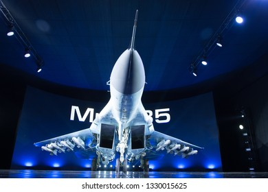 Lukhovitsy,Moscow Region, Russia - January 27,2017: Presentation of the new aviation system MiG-35 ( 4++ generation jet fighter by Mikoyan)