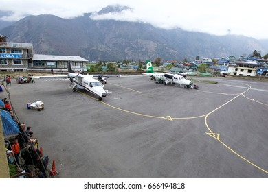 Lukla Airport , Lukla , Nepal - APRIL 20 2017 : Lukla airport is the most dangerous airport in the world.