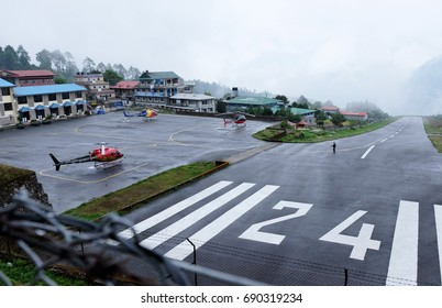 Lukla Airport , Lukla , Nepal - MAY 14 2017 : Lukla airport is the most dangerous airport in the world.