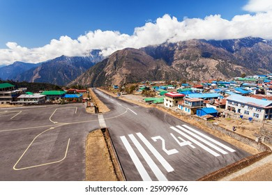 Lukla airport is a start point of Everest trek, Himalaya, Nepal