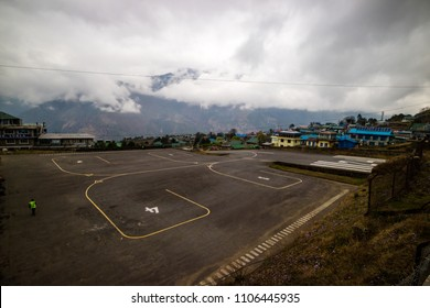 LUKLA, NEPAL - APRIL 10, 2018 : Lukla airport, Nepal. Gateway to Everest trekking