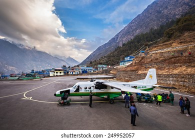 LUKLA, NEPAL - MARCH 13: Lukla airport is a start point of Everest trek on March 13, 2014, Lukla, Nepal