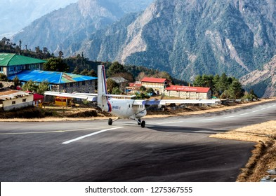 Lukla, Nepal - March 4, 2014: Tenzing-Hillary Airport the most dangerous airport in the world in Lukla, Nepal.