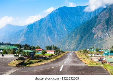 Lukla, Nepal - October, 21, 2018: Runway of the Tenzing-Hillary airport in Lukla, the most dangerous airport in the world, Himalayas, Nepal