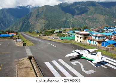 LUKLA - October 9 2011: Dornier Do-228 from Tara Air at Lukla Tenzing-Hillary Airport - VNLK at 2860 metres in the Khumbu area of the Solukhumbu District in the Sagarmatha Zone of north-eastern Nepal.