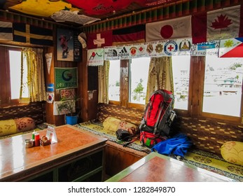 Lukla/Nepal - 11 08 2018: Lodge in Lukla
