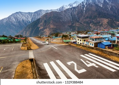 LUKLA/NEPAL, February 01 2019 Lukla village and Lukla airport, Nepal Himalayas, Lukla is gateway for Everest trek and Khumbu valley.
