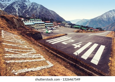 LUKLA/NEPAL, February 02 2019 - view of Lukla village and Lukla airport, Nepal Himalayas, Lukla is gateway for Everest trek and Khumbu valley.