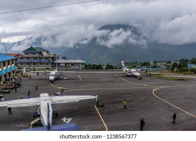 Lukla,Nepal - September 29 2018 : the aircraft on the runway of the Tenzing-Hillary airport Lukla - Nepal, Himalayas
