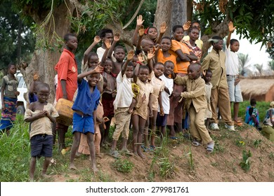 LUKONGA, DEMOCRATIC REPUBLIC OF CONGO - CIRCA, SEPTEMBER 2008.  UNICEF mission against tetanus. Village children came to say bye-bye for mission members.