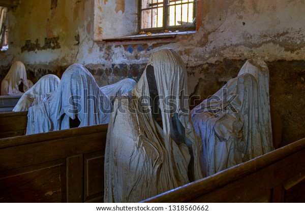 LUKOVA , CZECH  REPUBLIC. On October 13, 2018.  Mysterious church interior with ghosts in the church of St. George in the Czech village of Lukova.