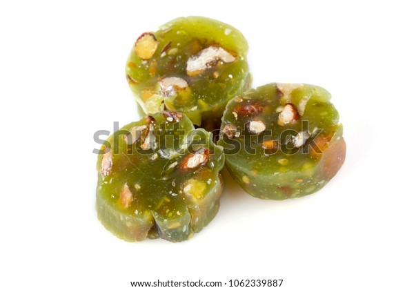 lukum with nuts on white background