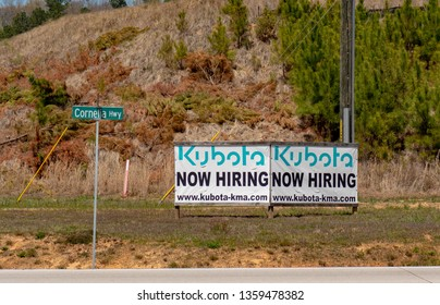 Lula, Georgia USA 4/3/2019 Kubota plant in Georgia now hiring sign off of hwy