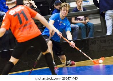 Lulea, Sweden - June 4, 2015. Friendship game in floorball between Lulea Hockey and IBK Lulea. Lucas Wallmark (Lulea Hockey).