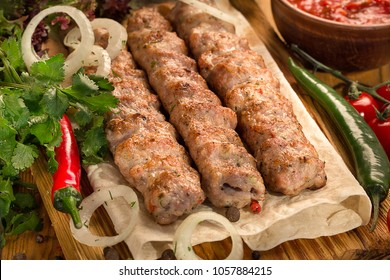 lulya kebab, meat on the grill, minced meat on the grill