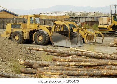 Lumber being processed at a forest products sawmill.