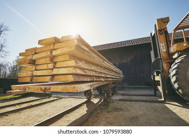Lumber industry. Wheel loader loading planks at the sawmill at the sunrise.