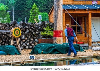 Lumber jack throwing axe at log target in tourist show.